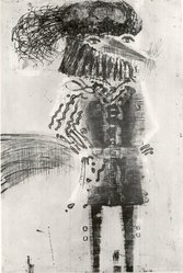 Malcolm H. Myers (American, 1917-2002). <em>Fox in Costume</em>, 1967. Intaglio in color, 36 x 23 3/4 in. (91.4 x 60.3 cm). Brooklyn Museum, Frederick Loeser Fund, 68.117. © artist or artist's estate (Photo: Brooklyn Museum, CUR.68.117.jpg)