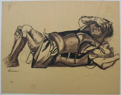 Rico Lebrun (American, 1900-1964). <em>Reclining Soldier</em>, n.d. Ink and chalk on paper, sheet: 19 x 24 3/16 in. (48.3 x 61.4 cm). Brooklyn Museum, Gift of Dr. and Mrs. Milton M. Gardner, 69.135.1. © artist or artist's estate (Photo: Brooklyn Museum, CUR.69.135.1.jpg)