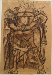 Rico Lebrun (American, 1900-1964). <em>Woman of the Cross</em>, 1950. Ink and pastel drawing on paper, overall: 24 1/4 x 16 1/2 in. (61.6 x 41.9 cm). Brooklyn Museum, Gift of Dr. and Mrs. Milton M. Gardner, 69.135.2. © artist or artist's estate (Photo: Brooklyn Museum, CUR.69.135.2.jpg)