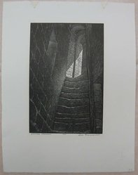 Leo J. Meissner (American, 1895-1977). <em>Medieval Stairway</em>, n.d. Woodcut engraving on paper, Sheet: 14 3/16 x 11 in. (36 x 28 cm). Brooklyn Museum, Gift of the Society of American Graphic Artists in memory of John von Wicht, 71.60.53. © artist or artist's estate (Photo: Brooklyn Museum, CUR.71.60.53.jpg)