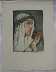 Emily Burling Waite (American, 1887-1962). <em>When I Consider</em>. Soft ground etching on paper, sheet: 13 x 10 1/16 in. (33 x 25.6 cm). Brooklyn Museum, Gift of the Society of American Graphic Artists in memory of John von Wicht, 71.60.82. © artist or artist's estate (Photo: Brooklyn Museum, CUR.71.60.82.jpg)