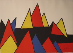 Alexander Calder (American, 1898-1976). <em>Mountains</em>, 1971. Color lithograph on white wove paper with deckled edges on top and bottom, 22 1/2 x 30 3/4 in. (57.2 x 78.1 cm). Brooklyn Museum, Gift of Mr. and Mrs. Samuel Dorsky, 74.178.11. © artist or artist's estate (Photo: Brooklyn Museum, CUR.74.178.11.jpg)