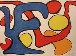 Alexander Calder (American, 1898-1976). <em>[Untitled] (Amorphous Shapes)</em>, ca. 1970. Color lithograph on white wove paper with deckled edges, 23 x 30 3/4 in. (58.4 x 78.1 cm). Brooklyn Museum, Gift of Mr. and Mrs. Samuel Dorsky, 74.178.12. © artist or artist's estate (Photo: Brooklyn Museum, CUR.74.178.12.jpg)