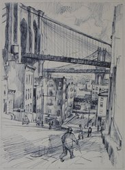 Abram Tromka (American, born Poland 1896-1954). <em>Study of Two Bridges</em>, ca. 1929. Ink on paper, image: 10 3/8 x 7 11/16 in. (26.4 x 19.5 cm). Brooklyn Museum, Gift of Mrs. Abram Tromka, 74.182.1. © artist or artist's estate (Photo: Brooklyn Museum, CUR.74.182.1.jpg)