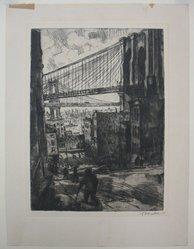 Abram Tromka (American, born Poland 1896-1954). <em>Two Bridges</em>, 1929. Etching on cream paper, sheet: 13 3/4 x 10 3/8 in. (34.9 x 26.4 cm). Brooklyn Museum, Gift of Mrs. Abram Tromka, 74.182.2. © artist or artist's estate (Photo: Brooklyn Museum, CUR.74.182.2.jpg)