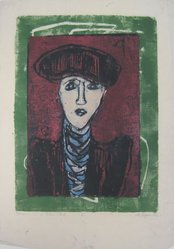 Anne Ryan (American, 1889-1954). <em>Woman in a Blue Stock</em>, 1945. Woodcut on paper, sheet: 17 1/8 x 12 in. (43.5 x 30.5 cm). Brooklyn Museum, Anonymous gift, 78.15.3. © artist or artist's estate (Photo: Brooklyn Museum, CUR.78.15.3.jpg)