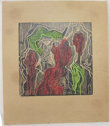 Hilda Katz (American, 1909-1997). <em>Hallucinogenz</em>, n.d. Linocut in color on brown wove paper, Sheet: 15 1/4 x 13 in. (38.7 x 33 cm). Brooklyn Museum, Gift of Hilda Katz, 78.154.7. © artist or artist's estate (Photo: Brooklyn Museum, CUR.78.154.7.jpg)