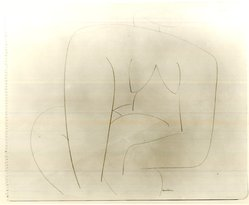 Louise Nevelson (American, born Russia, 1899-1988). <em>Untitled (Abstracted Seated Female Nude)</em>, ca. 1932-1935. Terra cotta crayon on pape, sheet: 16 15/16 x 13 7/8 in. (43 x 35.2 cm). Brooklyn Museum, Gift of Samuel Goldberg in memory of his parents, Sophie and Jacob Goldberg, and his brother, Hyman Goldberg, 78.277.9. © artist or artist's estate (Photo: Brooklyn Museum, CUR.78.277.9.jpg)