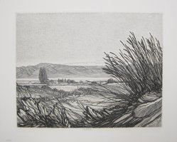 Roi Partridge (American, 1888-1984). <em>Oasis</em>, 1948. Etching on zinc on paper, sheet: 13 1/8 x 16 1/8 in. (33.3 x 41 cm). Brooklyn Museum, Designated Purchase Fund, 79.111.10. © artist or artist's estate (Photo: Brooklyn Museum, CUR.79.111.10.jpg)