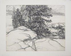 Roi Partridge (American, 1888-1984). <em>Granite Shores</em>, 1936. Etching on paper, sheet: 13 5/16 x 16 7/8 in. (33.8 x 42.9 cm). Brooklyn Museum, Designated Purchase Fund, 79.111.11. © artist or artist's estate (Photo: Brooklyn Museum, CUR.79.111.11.jpg)
