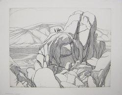Roi Partridge (American, 1888-1984). <em>Carmel Coast</em>, 1930. Etching on zinc on paper, sheet: 13 1/16 x 16 11/16 in. (33.2 x 42.4 cm). Brooklyn Museum, Designated Purchase Fund, 79.111.12. © artist or artist's estate (Photo: Brooklyn Museum, CUR.79.111.12.jpg)