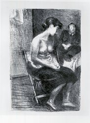 Raphael Soyer (American, born Russia, 1899-1987). <em>In Studio</em>, ca. 1933. Lithograph on paper, sheet: 23 3/4 x 16 in. (60.3 x 40.6 cm). Brooklyn Museum, Gift of Samuel Goldberg in memory of his parents, Sophie and Jacob Goldberg, and his brother, Hyman Goldberg, 79.299.10. © artist or artist's estate (Photo: Brooklyn Museum, CUR.79.299.10.jpg)