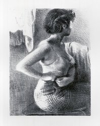Raphael Soyer (American, born Russia, 1899-1987). <em>The Model</em>, ca. 1932. Lithograph on paper, sheet: 22 7/8 x 15 3/4 in. (58.1 x 40 cm). Brooklyn Museum, Gift of Samuel Goldberg in memory of his parents, Sophie and Jacob Goldberg, and his brother, Hyman Goldberg, 79.299.6. © artist or artist's estate (Photo: Brooklyn Museum, CUR.79.299.6.jpg)