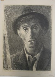 Raphael Soyer (American, born Russia, 1899-1987). <em>Self Portrait</em>, 1933. Lithograph on paper, sheet: 15 15/16 x 11 7/16 in. (40.5 x 29.1 cm). Brooklyn Museum, Gift of Samuel Goldberg in memory of his parents, Sophie and Jacob Goldberg, and his brother, Hyman Goldberg, 79.299.8. © artist or artist's estate (Photo: Brooklyn Museum, CUR.79.299.8.jpg)
