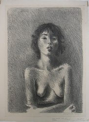 Raphael Soyer (American, born Russia, 1899-1987). <em>Sylvia</em>, ca. 1933. Lithograph on paper, sheet: 15 7/8 x 11 3/4 in. (40.3 x 29.8 cm). Brooklyn Museum, Gift of Samuel Goldberg in memory of his parents, Sophie and Jacob Goldberg, and his brother, Hyman Goldberg, 79.299.9. © artist or artist's estate (Photo: Brooklyn Museum, CUR.79.299.9.jpg)