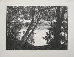 Warren Bryan Mack (American, 1896-1952). <em>Eagle's Mere</em>, ca. 1939-1940. Wood engraving on paper, sheet: 13 3/16 x 17 3/8 in. (33.5 x 44.1 cm). Brooklyn Museum, Designated Purchase Fund, 79.57.2. © artist or artist's estate (Photo: Brooklyn Museum, CUR.79.57.2.jpg)