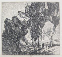 Roi Partridge (American, 1888-1984). <em>Tall Willows</em>, 1932-1933. Etching on paper, sheet: 8 1/2 x 10 7/8 in.  (21.6 x 27.6 cm);. Brooklyn Museum, Designated Purchase Fund, 79.57.3. © artist or artist's estate (Photo: Brooklyn Museum, CUR.79.57.3.jpg)