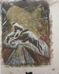 Julia Mavrogordato (British, 1903-1992). <em>Olympia</em>, ca. 1930. Linocut on paper, sheet: 10 1/4 x 8 1/8 in. (26 x 20.6 cm). Brooklyn Museum, Designated Purchase Fund, 80.146.3. © artist or artist's estate (Photo: Brooklyn Museum, CUR.80.146.3.jpg)