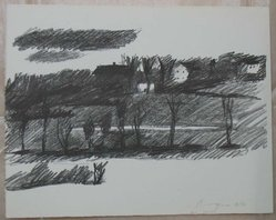 Paul Georges (American, born 1923). <em>Landscape</em>. Lithograph on white, Arches paper, Sheet: 10 x 12 5/8 in. (25.4 x 32.1 cm). Brooklyn Museum, Anonymous gift, 80.209.30. © artist or artist's estate (Photo: Brooklyn Museum, CUR.80.209.30.jpg)