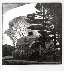 Thomas Willoughby Nason (American, 1889-1971). <em>The Old Manse, Concord</em>, 1931. Wood engraving on cream-colored wove paper, Image: 4 3/16 x 4 in. (10.6 x 10.1 cm). Brooklyn Museum, Frank L. Babbott Fund, 81.90.6. © artist or artist's estate (Photo: Brooklyn Museum, CUR.81.90.6.jpg)
