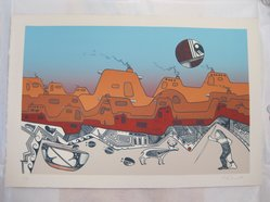 Charles Fredric Lovato (Kewa (Santo Domingo Pueblo), 1937-1987). <em>Untitled</em>, 1979. Lithograph on paper, sheet: 15 1/8 x 22 1/2 in. (38.4 x 57.2 cm). Brooklyn Museum, Gift of Martin Rotman, 82.255.20. © artist or artist's estate (Photo: Brooklyn Museum, CUR.82.255.20.jpg)