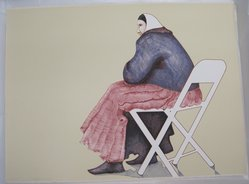 Ed Singer (Navajo, born 1951). <em>Untitled (Woman in Chair)</em>, 1979. Lithograph on paper, 22 1/4 x 30 in. (56.5 x 76.2 cm). Brooklyn Museum, Gift of Martin Rotman, 82.255.25. © artist or artist's estate (Photo: Brooklyn Museum, CUR.82.255.25.jpg)