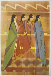 Virginia A. Stroud (Cherokee, Creek, and adopted Kiowa, born 1951). <em>The Robes II</em>, n.d. Lithograph on paper, sheet: 22 1/2 x 15 1/8 in. (57.2 x 38.4 cm). Brooklyn Museum, Gift of Martin Rotman, 82.255.31. © artist or artist's estate (Photo: Brooklyn Museum, CUR.82.255.31.jpg)