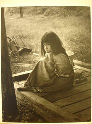Grete Mannheim (American, born Germany, 1909-1986). <em>Seminole Indian Girl (Brother and father in background)</em>, 1956. Gelatin silver photograph, sheet: 10 × 8 in. (25.4 × 20.3 cm). Brooklyn Museum, Gift of the artist, 84.232.2. © artist or artist's estate (Photo: Brooklyn Museum, CUR.84.232.2.jpg)