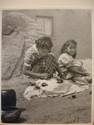 Grete Mannheim (American, born Germany, 1909-1986). <em>Two Hopi Indian Girls Selling Pottery, San Idelfonso Pueblo, NM</em>, 1952. Gelatin silver photograph, sheet: 10 × 8 in. (25.4 × 20.3 cm). Brooklyn Museum, Gift of the artist, 84.232.4. © artist or artist's estate (Photo: Brooklyn Museum, CUR.84.232.4.jpg)