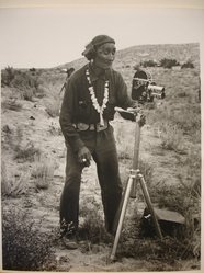 Grete Mannheim (American, born Germany, 1909-1986). <em>Navajo Indian looking at Camera on Tripod</em>, 1952. Gelatin silver photograph, sheet: 10 × 8 in. (25.4 × 20.3 cm). Brooklyn Museum, Gift of Grete Mannheim, 84.232.7. © artist or artist's estate (Photo: Brooklyn Museum, CUR.84.232.7.jpg)