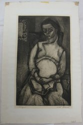 Will Barnet (American, 1911-2012). <em>Mary (or Pregnancy)</em>. Aquatint, Sheet: 18 11/16 x 11 13/16 in. (47.5 x 30 cm). Brooklyn Museum, Gift of IBM Gallery of Science and Art, 85.187.2. © artist or artist's estate (Photo: Brooklyn Museum, CUR.85.187.2.jpg)