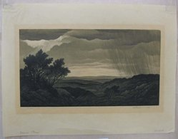Thomas Willoughby Nason (American, 1889-1971). <em>Summer Storm</em>, 1940. Wood engraving, three colors, Sheet: 9 1/16 x 12 in. (23 x 30.5 cm). Brooklyn Museum, Gift of IBM Gallery of Science and Art, 85.187.38. © artist or artist's estate (Photo: Brooklyn Museum, CUR.85.187.38.jpg)