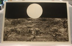 James Louis Steg (American, born 1922). <em>Moonscape No. 1</em>, 1963. Collograph on white wove paper, Plate: 23 5/8 x 37 13/16 in. (60 x 96 cm). Brooklyn Museum, Gift of IBM Gallery of Science and Art, 85.187.41. © artist or artist's estate (Photo: , CUR.85.187.41.jpg)
