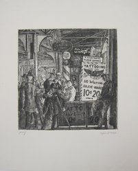 Reginald Marsh (American, 1898-1954). <em>Tattoo-Shave-Haircut</em>, 1932. Etching and engraving on white wove paper, Image: 9 13/16 x 9 5/8 in. (24.9 x 24.5 cm). Brooklyn Museum, Gift of Mr. and Mrs. Peter P. Pessutti, 86.215. © artist or artist's estate (Photo: Brooklyn Museum, CUR.86.215.jpg)
