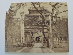 Frith. <em>Tomb of the First Ming Emperor</em>, late 19th-early 20th century. Albumen silver photograph, 6 3/8 x 8 in. (16.2 x 20.3 cm). Brooklyn Museum, Gift of Matthew Dontzin, 86.256.30 (Photo: Brooklyn Museum, CUR.86.256.30.jpg)