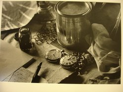 W. Eugene Smith (American, 1918-1978). <em>[Untitled] (Pen and Ink, Pocket Watches, and Paper on Desk)</em>, 1954. Gelatin silver photograph, Sheet: 9 1/8 x 13 5/16 in. (23.2 x 33.9 cm). Brooklyn Museum, Gift of Philip Goutell, 87.245.64. © artist or artist's estate (Photo: Brooklyn Museum, CUR.87.245.64.jpg)