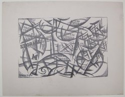 Herzl Emanuel (American, 1914-2002). <em>[Untitled]</em>, 1937. Off-set lithograph on wove paper, sheet: 9 5/16 x 12 in. (23.7 x 30.5 cm). Brooklyn Museum, Purchased with funds given by an anonymous donor, 88.54.9. © artist or artist's estate (Photo: Brooklyn Museum, CUR.88.54.9.jpg)