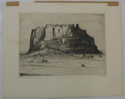 Albert Lorey Groll (American, 1866-1952). <em>The Enchanted Mesa</em>, n.d. Etching on cream-colored wove paper, Sheet: 12 x 15 1/4 in. (30.5 x 38.8 cm). Brooklyn Museum, Gift of Dr. Clark S. Marlor, 88.6.1. © artist or artist's estate (Photo: Brooklyn Museum, CUR.88.6.1.jpg)