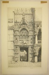 Ernest David Roth (American, 1879-1964). <em>Porta Della Carta -- Venice</em>, 1941. Etching on cream wove paper, Image: 14 x 17 7/8 in. (35.6 x 45.4 cm). Brooklyn Museum, Gift of Dr. Clark S. Marlor, 88.6.10. © artist or artist's estate (Photo: Brooklyn Museum, CUR.88.6.10.jpg)