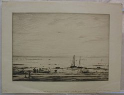 Robert Nisbet (American, 1879-1961). <em>Low Tide</em>. Drypoint on paper, sheet: 12 x 15 5/8 in. (30.5 x 39.7 cm). Brooklyn Museum, Gift of Dr. Clark S. Marlor, 88.6.8. © artist or artist's estate (Photo: Brooklyn Museum, CUR.88.6.8.jpg)