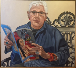 Philip Pearlstein (American, born 1924). <em>Linda Nochlin</em>, 2011. Oil on canvas, overall: 36 × 40 × 3/4 in. (91.4 × 101.6 × 1.9 cm). Brooklyn Museum, Gift of the Estate of Linda Nochlin Pommer, 2018.20.4. © artist or artist's estate (Photo: , CUR.TL2018.12.4.jpg)