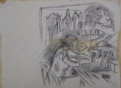 Paul Burlin (American, 1886-1969). <em>[The Clothing Factory II]</em>, n.d. Conte Crayon, glue in center of drawing, Image: 8 1/2 x 11 in. (21.6 x 27.9 cm). Brooklyn Museum, Brooklyn Museum Collection, X1042.145. © artist or artist's estate (Photo: Brooklyn Museum, CUR.X1042.145.jpg)