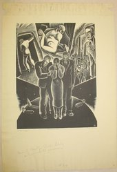 Dan Rico (American, 1910-1985). <em>Strange Funeral</em>, 1930s. Wood engraving, Sheet: 16 5/8 x 9 1/4 in. (42.2 x 23.5 cm). Brooklyn Museum, Brooklyn Museum Collection, X1042.50. © artist or artist's estate (Photo: Brooklyn Museum, CUR.X1042.50.jpg)