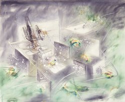 Roberto Matta (Chilean, 1911-2002). <em>Composition</em>, late 1950s. Oil on canvas, 45 1/4 x 56 inches. Brooklyn Museum, Gift of The Beatrice and Samuel A. Seaver Foundation, 2004.30.13. © artist or artist's estate (Photo: Brooklyn Museum, L1993.4.16_transpc002.jpg)
