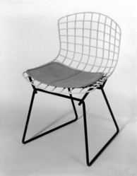 Harry Bertoia (American, born Italy, 1915-1978). <em>Child's Side Chair, Model 426-2</em>, Designed 1950-52; Manufactured 1953. Rubber-coated metal, metal, vinyl, (a) Chair:  20 x 13 x 12 1/2 in. (50.8 x 33 x 31.8 cm). Lent by Mr. and Mrs. Jack Buchanek, L84.8a-b. © artist or artist's estate (Photo: Brooklyn Museum, L84.8a-b_bw.jpg)