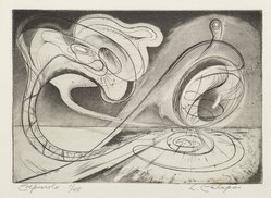 Letterio Calapai (American, 1902-1993). <em>Crepuscolo</em>, 1949. Engraving and etching, Image: 4 1/2 x 6 7/16 in. (11.4 x 16.4 cm). Brooklyn Museum, Brooklyn Museum Collection, X1042.104. © artist or artist's estate (Photo: Brooklyn Museum, X1042.104_PS6.jpg)