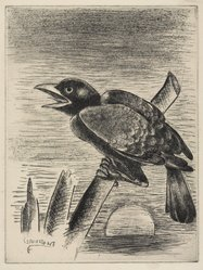 George Constant (American, 1892-1978). <em>Crow Calling</em>, 1935. Drypoint, Sheet: 17 3/16 x 13 in. (43.6 x 33 cm). Brooklyn Museum, Brooklyn Museum Collection, X1042.115. © artist or artist's estate (Photo: Brooklyn Museum, X1042.115_PS9.jpg)