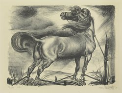 Leo Katz (American, 1887-1992). <em>Horse</em>, 1932. Lithograph, 12 1/4 x 17 1/4 in. (31.2 x 43.8 cm). Brooklyn Museum, Brooklyn Museum Collection, X1042.17. © artist or artist's estate (Photo: Brooklyn Museum, X1042.17_view2_PS4.jpg)