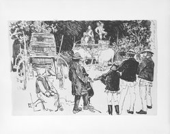 "Joseph Pennell (American, 1860-1926). <em>They Play in the Wine Gardens, Illustration for ""To Gypsy Land,""</em> n.d. Pen and ink on wove paper, Sheet (slightly irregular): 5 11/16 x 8 7/8 in. (14.4 x 22.5 cm). Brooklyn Museum, Brooklyn Museum Collection, X153. © artist or artist's estate (Photo: Brooklyn Museum, X153_bw_SL4.jpg)"