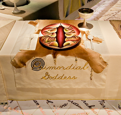 <p>Judy Chicago (American, b. 1939). <em>The Dinner Party</em> (Primordial Goddess place setting), 1974&ndash;79. Mixed media: ceramic, porcelain, textile. Brooklyn Museum, Gift of the Elizabeth A. Sackler Foundation, 2002.10. &copy; Judy Chicago. Photograph by Jook Leung Photography</p>